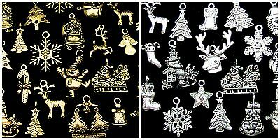 Tibetan Silver or Golden Random Mix Christmas Charms  Festive Pendants Xmas ML