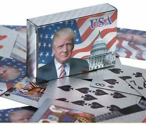 Donald-Trump-Silver-Foil-Waterproof-Plastic-Playing-Poker-Deck-Game-Cards-USA