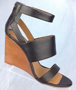 6b753a41fc0 Seychelles Black Leather Ankle Strap Wedge Heel Sandals Women's shoe ...