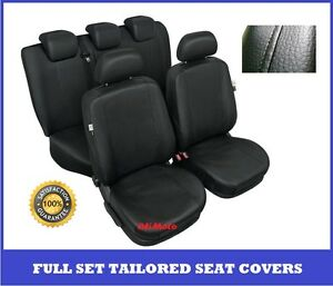 Black Eco Leather Tailored Full Set Seat Covers For