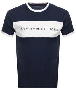 Tommy-Hilfiger-Men-039-s-Lounge-Retro-Ringer-T-Shirt-In-Navy-White