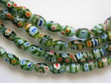 Millefiori glass rice beads 6x8mm-Green