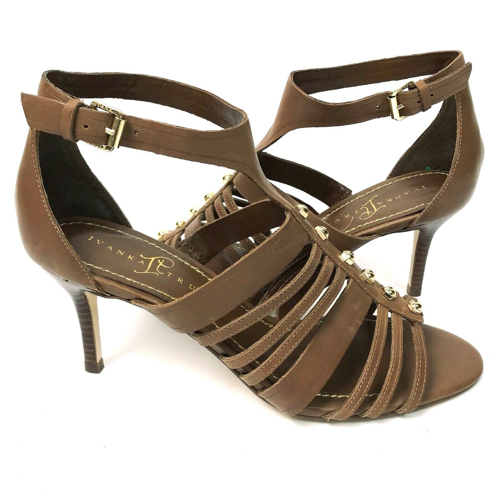 Ivanka Trump 8.5 Women's Gladiator Heels Sandals Cut Out Brown Studded Ankle Str