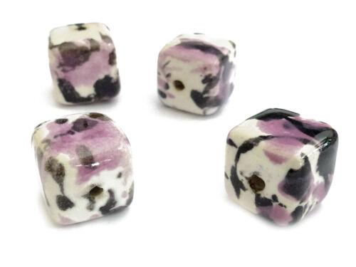 10 porcelana perlas cubo 15mm jaspeado a mano nenad-Design an341
