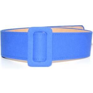Cintura donna in cotone telato bluette con fibbia quadrata da poter mettere in v