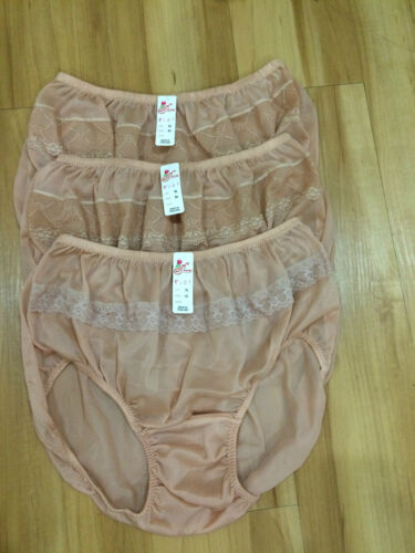 LACY VINTAGE STYLE SILKY NYLON GUSSET LACY PANTIES BRIEFS HI KNICKERS 3 PCS XL