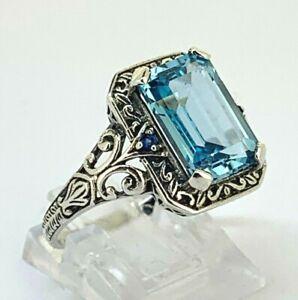 Blau-Topas-Ring-Blau-Topas-amp-Saphir-925er-Silber-ANTIK-STYLE-52