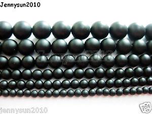 Natural-Onyx-Gemstone-Round-Beads-Matte-Black-15-5-039-039-4mm-5mm-6mm-8mm-10mm-12mm