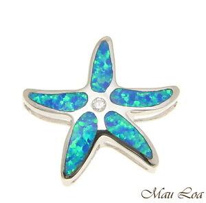 925-Sterling-Silver-Rhodium-Hawaiian-Sea-Star-Starfish-CZ-Opal-Slider-Pendant