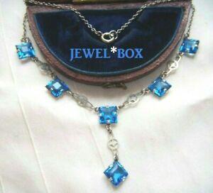 ART-DECO-STERLING-SILVER-Sapphire-Paste-Open-Back-Bezel-Crystal-Vintage-NECKLACE