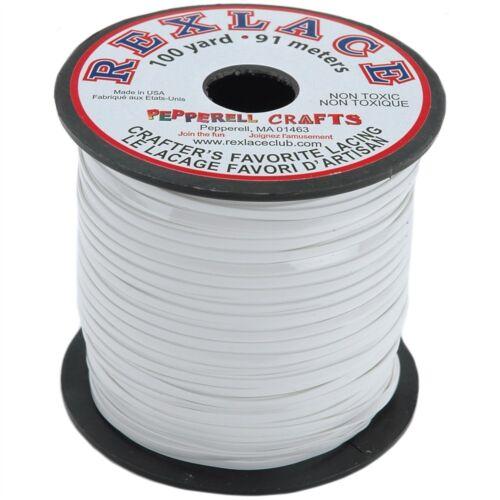 """Blanco Rexlace plástico Cordón .0938/""""X100yd"""