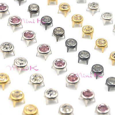 Round Metal Feet Nailheads Stud Spikes for Leather Purse Handbag Shoes DIY New
