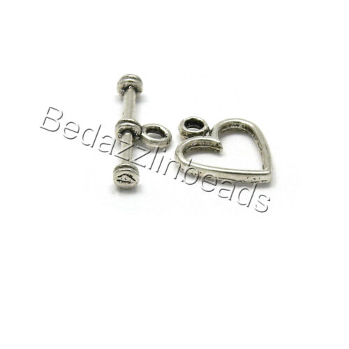 Lot of 10 Heart Toggle Bar /& Ring Jewelry Clasps Plated Over Pewter Base Metal