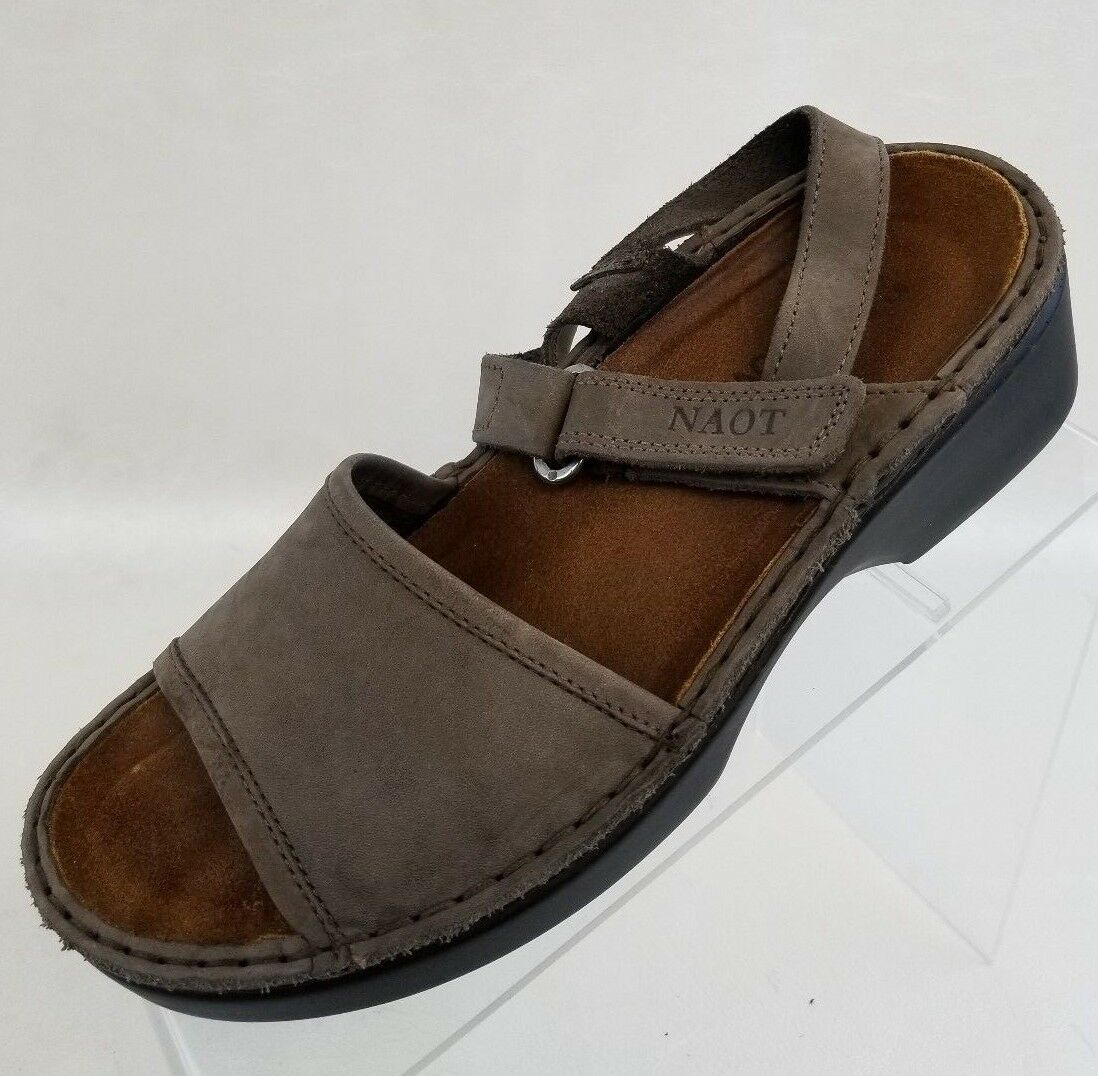 Naot Brown Wedge Sandals Ankle Strap Brown Naot Leather Womens Shoes Size US 6.5 4d197d