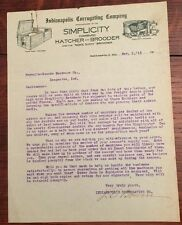 1913 INDIANAPOLIS CORRUGATING Chick Hatchery Brooder Indianapolis IN Letterhead