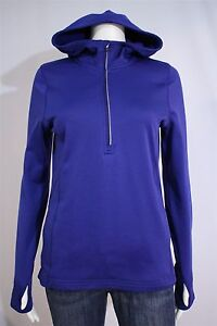 Champion-Misses-SMALL-Blue-Hooded-1-2-Zip-Pullover-Hoodie-Jacket-Thumbholes