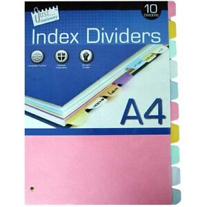Z PLAIN SUBJECT DIVIDERS A4 FILE FILLING DIVIDER COLOURED INDEX TABS CHEAP A
