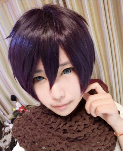 Noragami//Stray God Yato Short Black Purple Cosplay Party Hair Wig Free Wig Cap