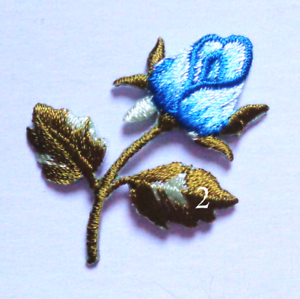 1+1//4 x 1+1//2 inch Embroidered Iron-On Applique Rosebud blue Flower