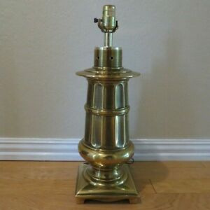 Vintage-1983-Cycle-II-Hollywood-Regency-Brass-Trophy-Urn-Table-Lamp-20-034-tall
