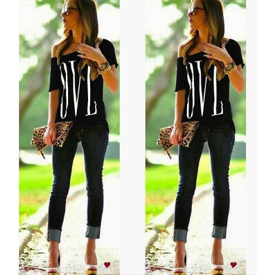 Plus Size Off Shoulder Womens Summer Blouse Top Ladies Short Sleeve Tops T Shirt