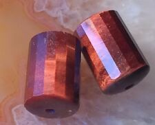 Red MAHOGANY TIGERS EYE Faceted Column Drum Beads CHATOYANT 12mm Gemstone PAIR