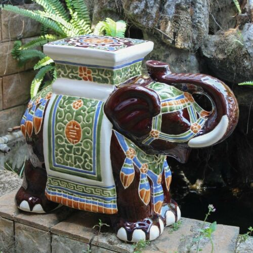 International Caravan Large Porcelain Elephant Stool,