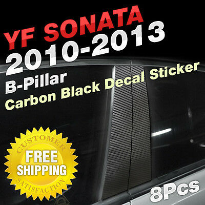 Carbon Black B+C Pillar Post Decal Sticker Molding 8P For HYUNDAI 2011-14 Sonata