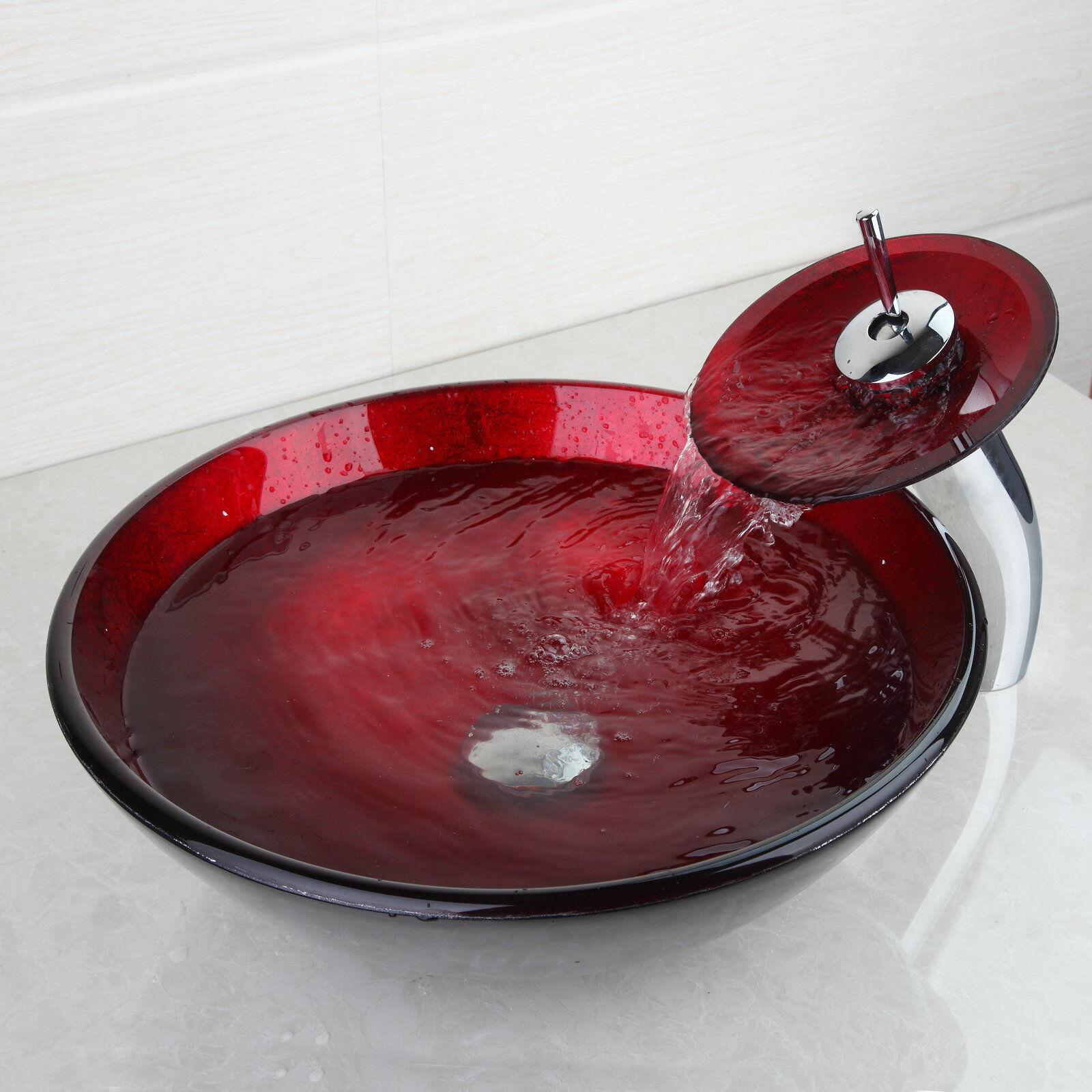 Cn Noir & Rouge salle de bain verre bassin BATEAU COULE avec Brass mélangeur robinets Robinet