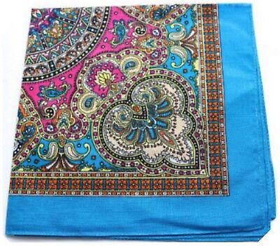 Blue Paisley Bandana Scarf Headscarf Neckerchief Hankie Cotton Pocket Square