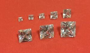 Cubic-Zirconia-Loose-Stone-PRINCESS-SQUARE-shape-crystal-gem-clear-PREMIUM-x2-10