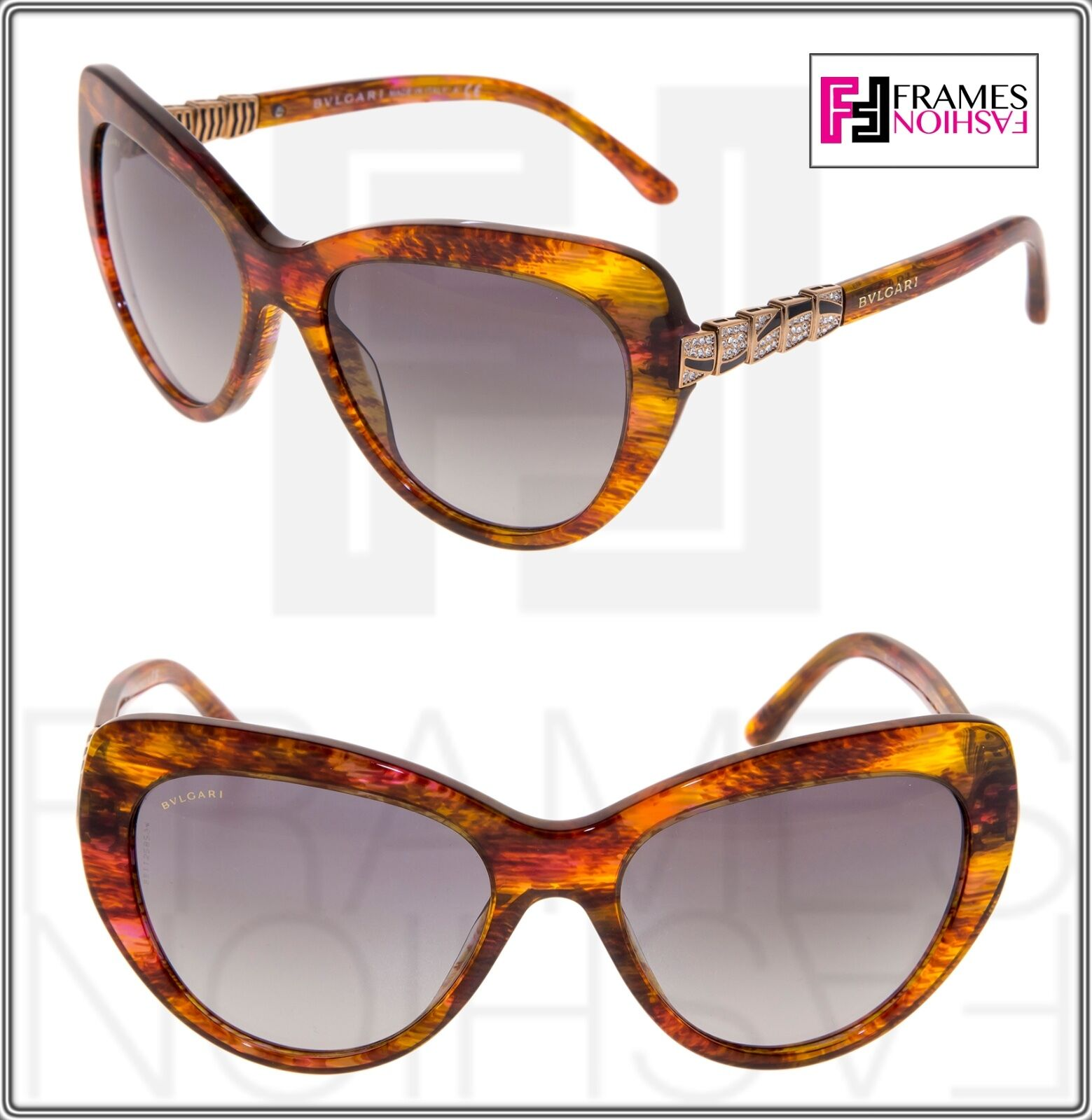 BVLGARI Serpenti BV8143B 5341/11 Orange Red Fantasy Gold Sunglasses 8143 Cat Eye