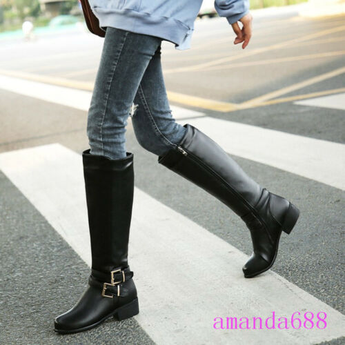 Womens Knee High Boots Casual Buckle Riding Knight Boots Side Zip Shoes Sz 35-47