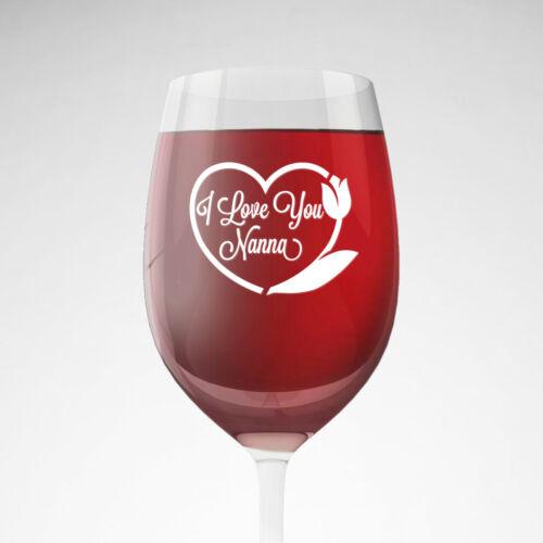 3x i love you nanna gran grandma nan decoration vinyl decal stickers wine glass