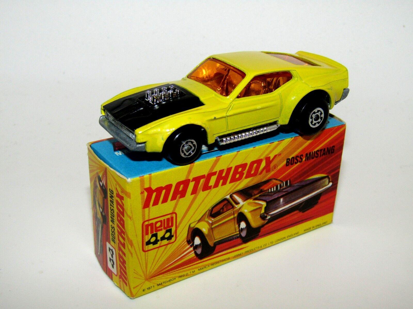 Matchbox Superfast No 44 Boss Mustang DARK YELLOW VNMIB RARE