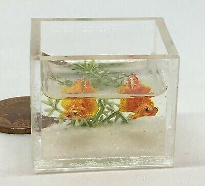 1:12 Scale 2 Fan Tail Goldfish In A Glass Bowl Tumdee Dolls House Tank Aquarium