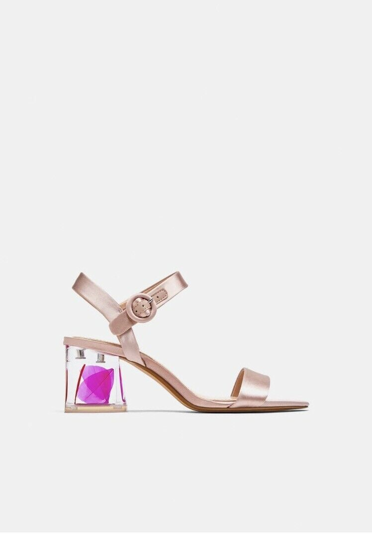 BNWOB Zara Satén Satén Satén rosado Bloque Talón Sandalias Zapatos Talla 4  Más asequible