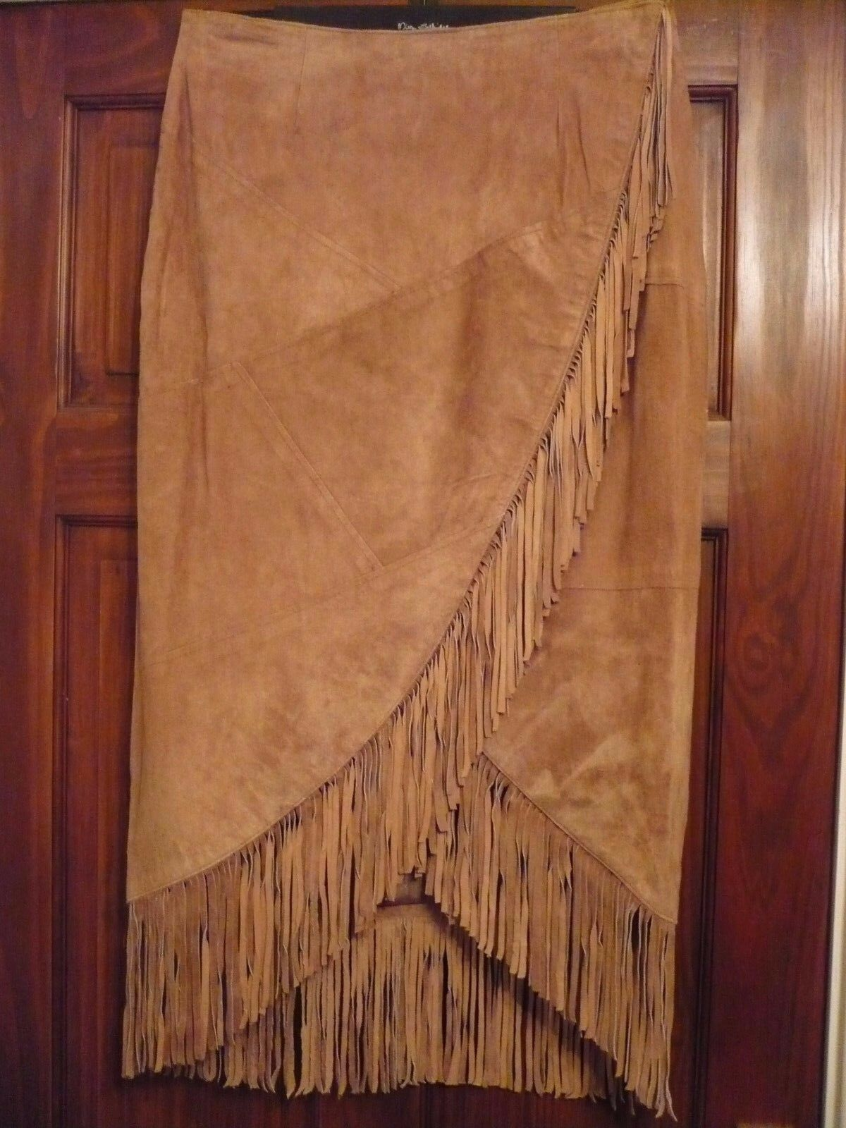 TOGETHER LUXURY SUEDE LEATHER FRINGED FULL WRAP AROUND SKIRT size M 12-14 BNEW