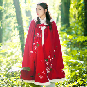 Loose Hooded Cape Cloak Parka Trench Chinese Broderi Poncho Fur Coat Women's RnIgBSdR