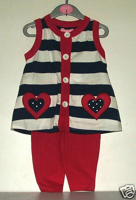 Other Newborn-5t Girls Clothes Competent Baby Girl's Sleeveless Tunic & Leggings Set Red/white/blue Stripes 6-12mos-new Drip-Dry