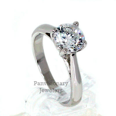 8mm Round CZ Solitaire Engagement Ring Anniversary 2.14 ctw .925 Sterling Silver