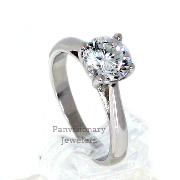 Round Solitaire Engagement Ring CZ Anniversary 8mm 2.14 ctw .925 Sterling Silver