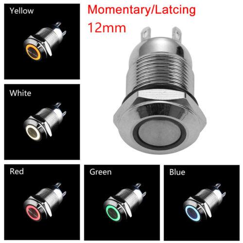 3V 5V 9V 12V 24V 110V 220V LED Metal ON//OFF Button Switch Momentary//Latching~