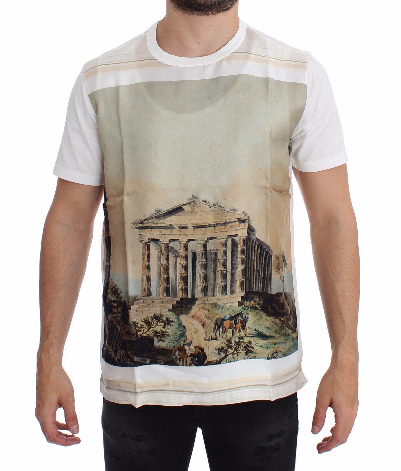 Nuova con Etichetta Dolce & Gabbana Bianco Taormine Stampa Girocollo T-Shirt