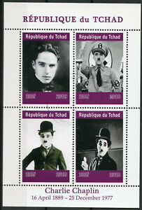 Chad-2019-CTO-Charlie-Chaplin-Hitler-4v-M-S-Actors-Famous-People-Stamps