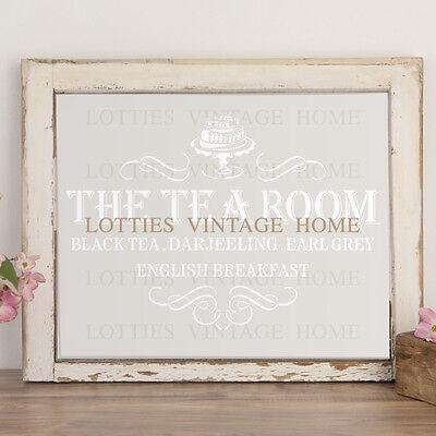 A4 Stencil TEA ROOM Furniture Fabric Shabby Chic Airbrush Vintage 190 MYLAR ❤
