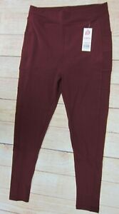 POP-FIT-Women-039-s-Athletic-Workout-Leggings-with-Pockets-2350-10-Maroon-NWT