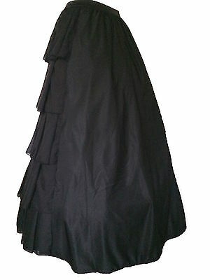 Gothic Victorian Black Steampunk Ruffle Full Layer Bustle Long Dickensian Skirt