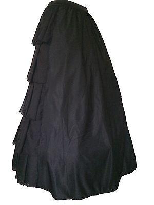Black Gothic Victorian Steampunk Ruffle Full Layer Bustle Long Dickensian Skirt