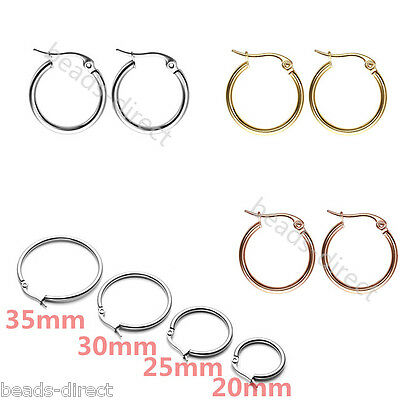 Womens Mens Stainless Steel Flat Round Tube Hoop Huggies Ear Rings Earrings Punk